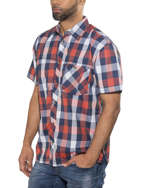 Meru Kilkis Functional SS Shirt Men Orange Big Check